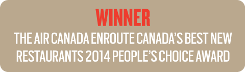 Air Canada enRoute Canada's Best New Restaurants 2014 People's Choice Award