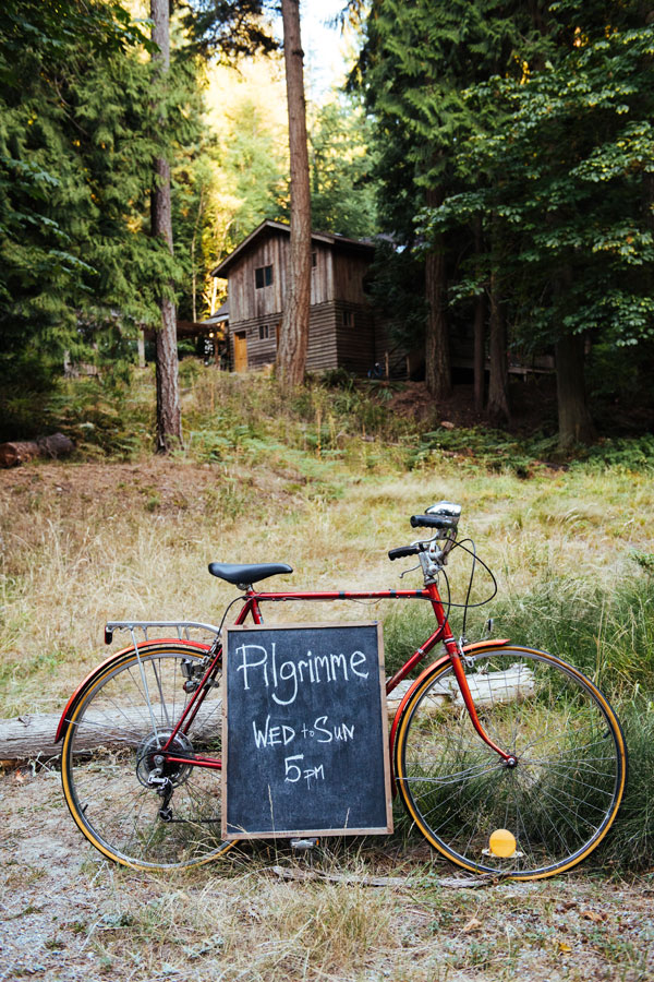 Chalkboard and bicycle at Pilgrimme Restaurant