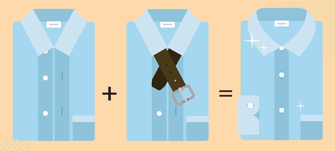 Keep business shirts crisp by packing belts under the collars