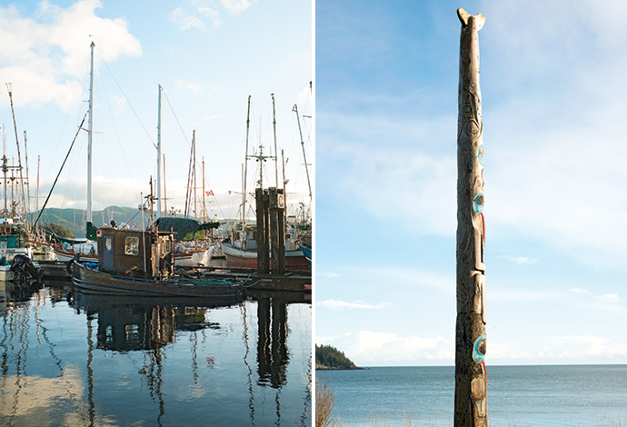 Queen Charlotte harbour; a totem pole carved by Ron Wilson