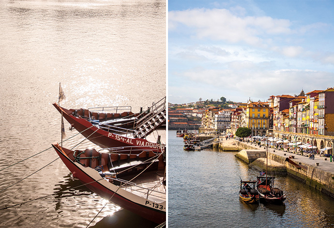 Rabelo boats; Ribeira district and the river Douro