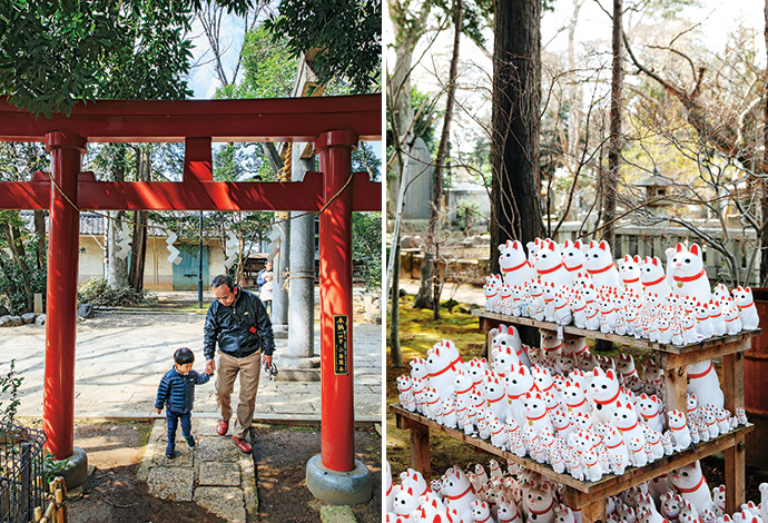 Shinto shrine in Setagaya; maneki-neko